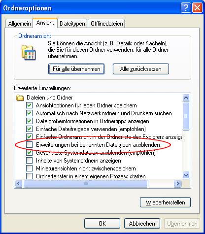 Dateiendungen sichtbar machen