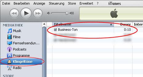 Klingelton ist in iTunes