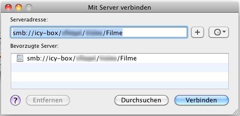 Mit Server verbinden (Apfel+k)